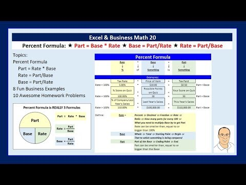 Excel & Business Math 20: Percent Formulas for Part, Rate & Base (8 Example)