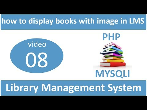 how to display books with image in LMS in PHP