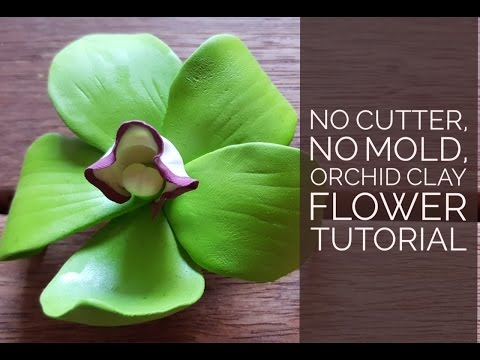 How to Make Green Orchid Clay Flower without Cutter - Super Easy & Fast