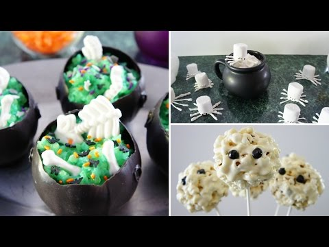 DIY Halloween Treats! (Witch Cauldrons, Marshmallow Spiders, Mummy Popcorn Balls)