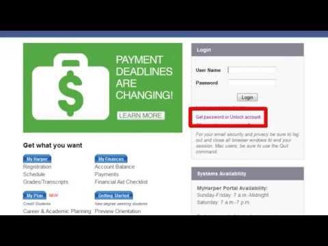 MyHarper Student Portal - Reset Password / Unlock Account