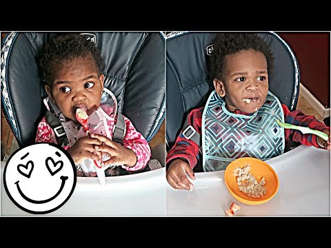 OMG! THE TWINS EAT WITH UTENSILS FOR THE FIRST TIME! 👶🏽👶🏾😁😍👏🏾