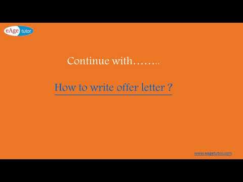 How to write an offer letter?