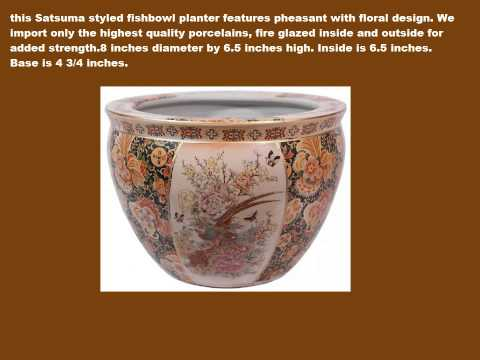 Porcelain Fishbowl-Satsuma Styled Porcelain Fishbowl
