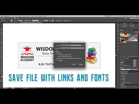 How to save a file with links and fonts (Package) in Adobe Illustrator CC