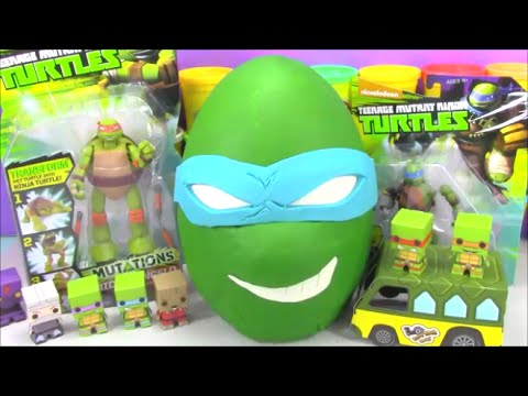 Giant Ninja Turtle Play doh Surprise Egg Leo TMNT with Minecraft Disney Cars and Tokidoki Toys
