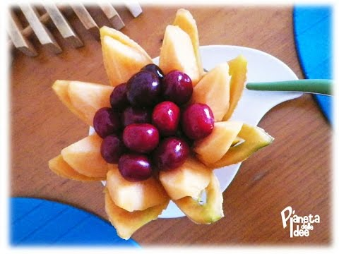 Intaglio della frutta: Cestino a Fiore di Melone e Ciliegie!