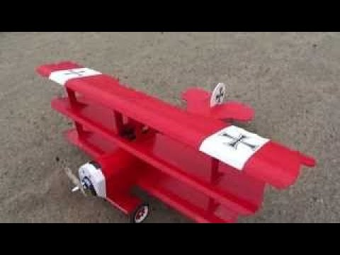 The Red Baron RC Plane built using white foam board.