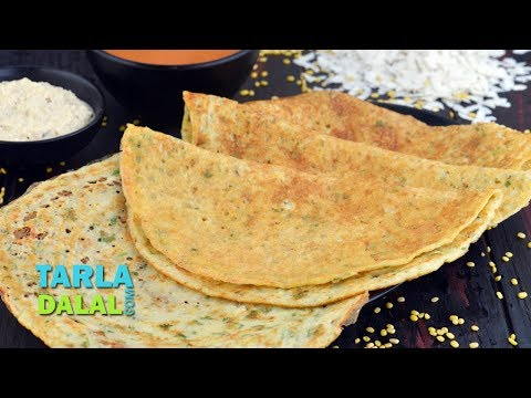 पोहा और पीली मूंग दाल का डोसा - Poha Yellow Moong Dal Dosa by Tarla Dalal