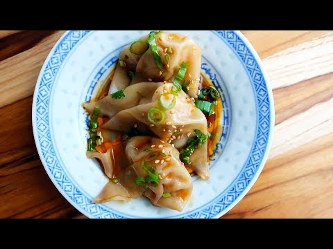 Pork and Shrimp Wonton Dumplings with Spicy Chili Sauce