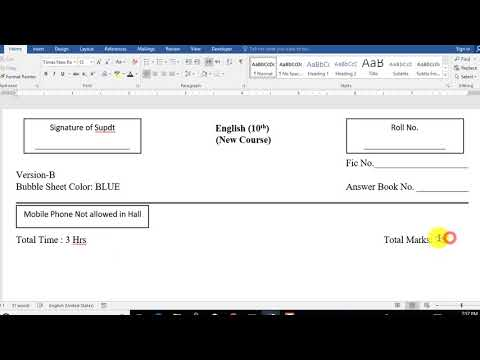 ms word 2016 tutorials: how to type exam question paper for Board in ms word