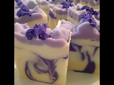 How to make a Lavender essential oil Cold Process soap with swirl design / piped flowers