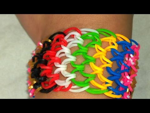 Multicolor Rainbow Loom Dragon Scale Bracelet with Two Forks Without Loom.DIY