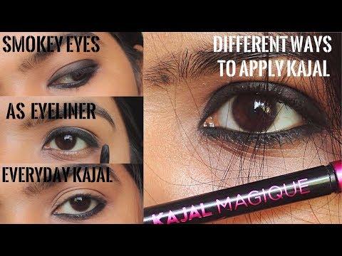 How to Apply Kajal in Different Ways | Create smokey eyes /eyeliner/everyday Looks Using Kajal