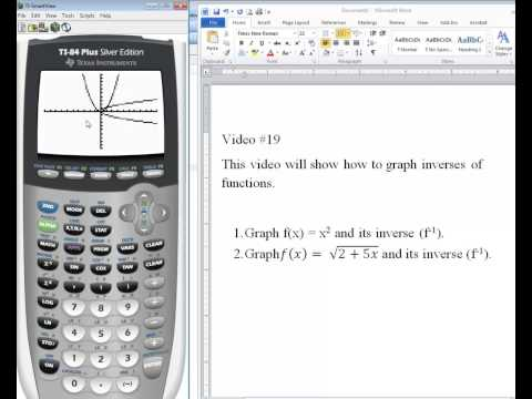 TI-84 Tutorial: Graphing functions and their inverses