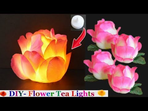 How to Make Tea Lights Flower step by step | Christmas decoration Ideas -best out of waste