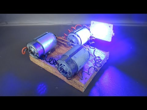 How to make free energy generator electricity light bulbs with DC motor - Great Idea 2018