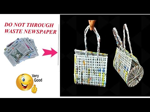 How to make a bag using newspaper | Newspaper Purse | Art with Neha 99