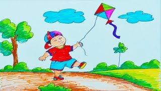 Simple Drawing For Kids Children Flying Kites With Mr Mj The
