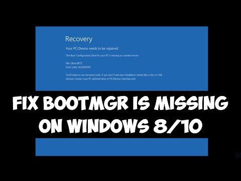 Fix bootmgr is missing on Windows 8/10
