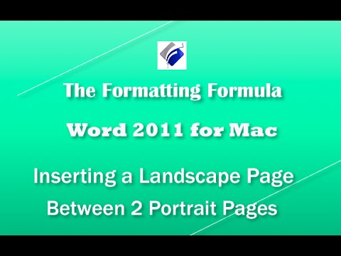 Word 2011 for MAC   Section Breaks - Inserting a Landscape Page between 2 Portrait Pages