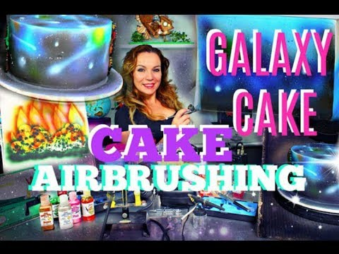 CAKE DECORATING AIRBRUSH TIPS | WHITE FONDANT COVERED CAKE INTO A GALAXY CAKE | BY VERUSCA WALKER
