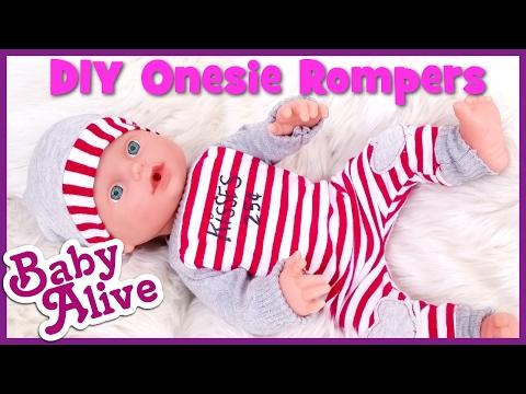 DIY HOW TO MAKE BABY ALIVE DOLL Onesie Romper Clothes | BlueprintDIY Kids