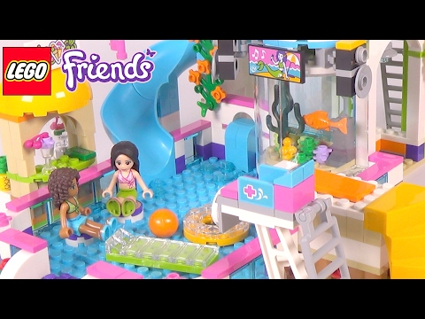 LEGO Friends Heartlake Summer Pool - Playset 41313 Toy Unboxing & Speed Build