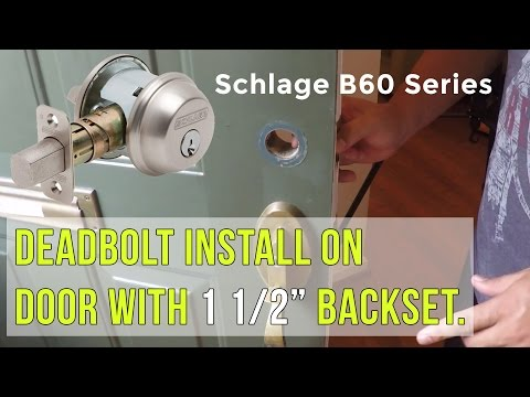 MJ: Home - Changing the deadbolt on a door with a smaller 1 1/2 inch hole. (Schlage B60x)