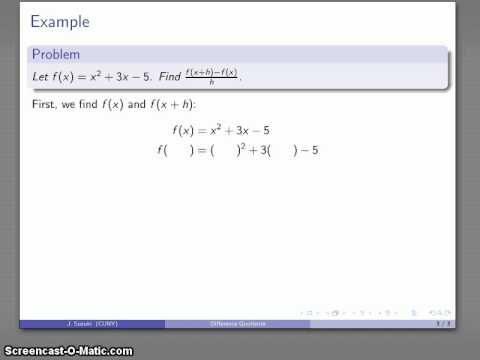 Difference Quotients (Polynomial Functions)
