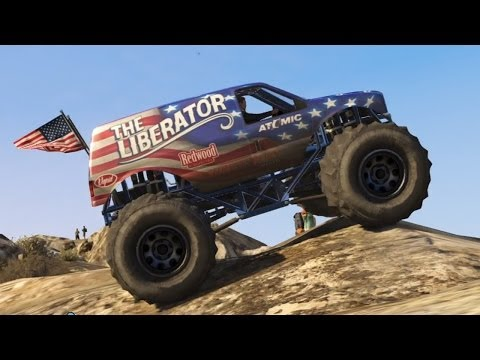 GTA 5 - Off-Road 4x4 - Mountain Climbing in the Monster Truck (GTA Online DLC Liberator Up Chiliad)