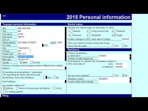 Preparing Canadian Personal T1 Returns – Inputting Proper Personal Information (Part 1 of 5)