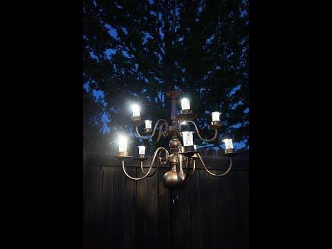 Outdoor Solar Chandelier // DIY // Outdoor Backyard Lighting