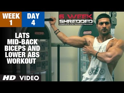 Week 1: Day 4 - Lats, Mid-Back, Biceps and Lower Abs Workout   Guru Mann 6 Week Shredded Program