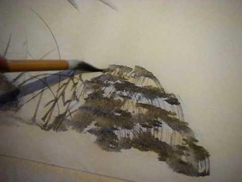 Japanese brush painting: Rocks and grasses