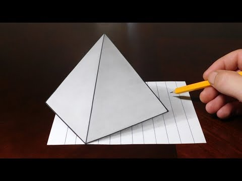 How to Draw 3D Pyramid on Line Paper Trick Art