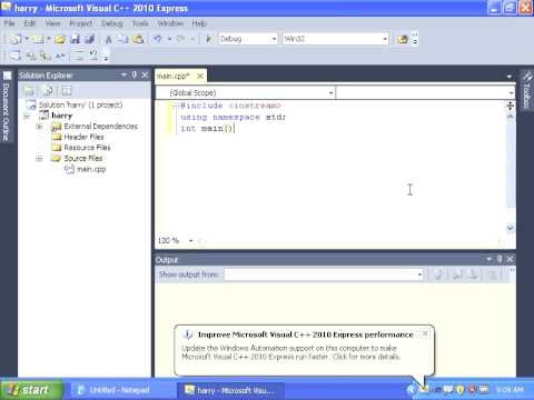 Creating a C++ Win32 Console Application with Visual C++ 2010 Express