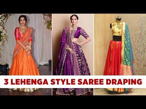 How to wear A Saree like a Lehenga and Half saree