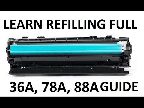 How to refill laser printer HP cartridges HP 36A, 78A, 88A international standards...