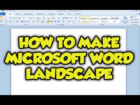 How To Make Your Microsoft Word Document Landscape - Microsoft Word 2007 / 2010 Landscape Tutorial