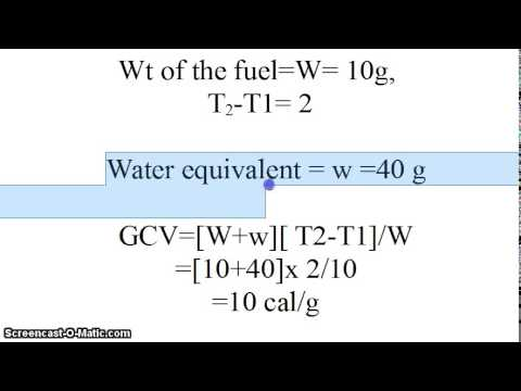 Video - Given weight of fuel, water equivalent, change in temp in bomb's calorimeter, find GVC