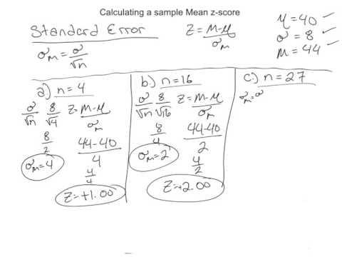 Calculating a sample Mean z-score