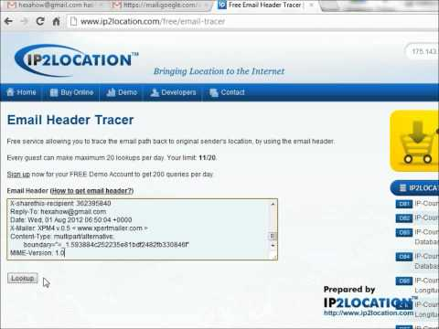 How to trace sender from Gmail email header