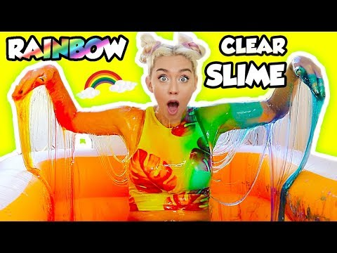 100 LBS OF DIY CLEAR RAINBOW SLIME! LEARN HOW TO MAKE RAINBOW CLEAR SLIME