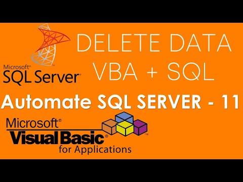 VBA and SQL Server - Delete or remove data in SQL Server Database using VBA . Part-11