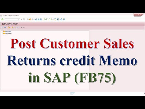 How to post a Sales Returns  Credit Memo in SAP
