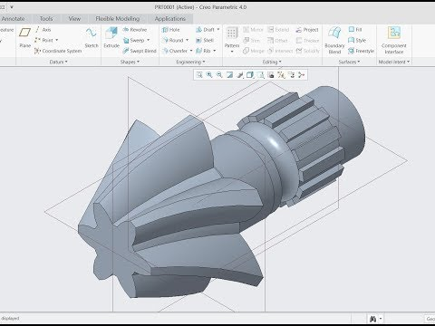 How to create model of helical gear in creo 4 0