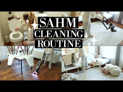 STAY AT HOME MOM CLEANING ROUTINE 2018   SAHM POWER HOUR   SPEED CLEAN WITH ME   Tara Henderson