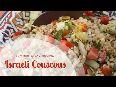 Israeli Couscous Salad Recipe with Tomatoes, Cucumbers and Feta