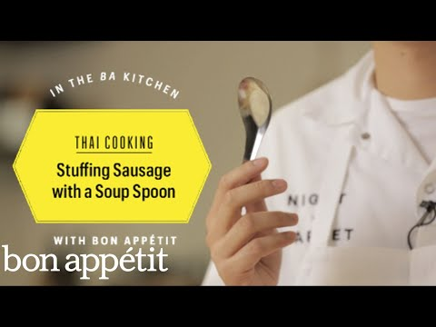 Thai Cooking: Stuffing Sausage With a Soup Spoon